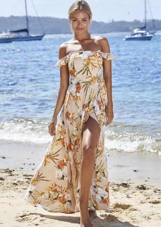 Off-shoulder Floral Slit Long Beach Maxi Dress