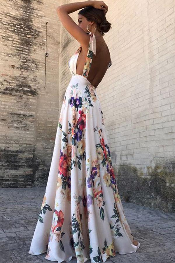 Sexy New Backless Floral Print Maxi Dres