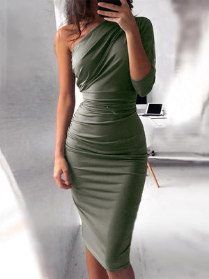 One Shoulder Scrunch Self-belted Bodycon Dress