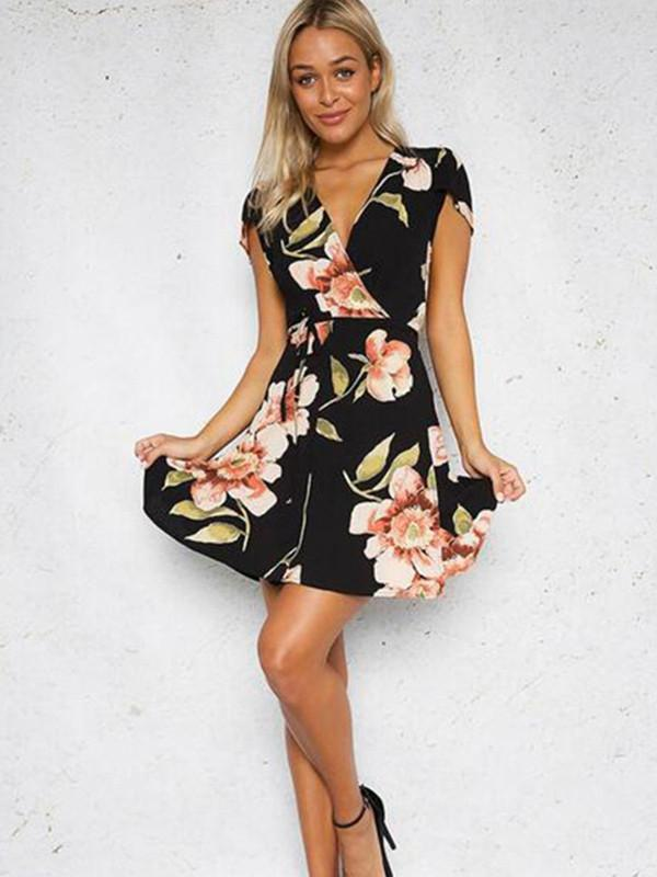 Elegant Female Floral Mini Short Sleeve Sexy V Neck Dress