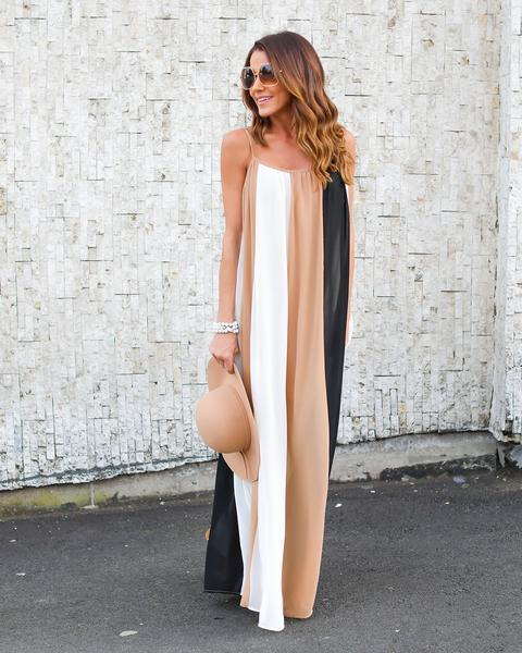 Sling Striped Holiday Color block Long Dress
