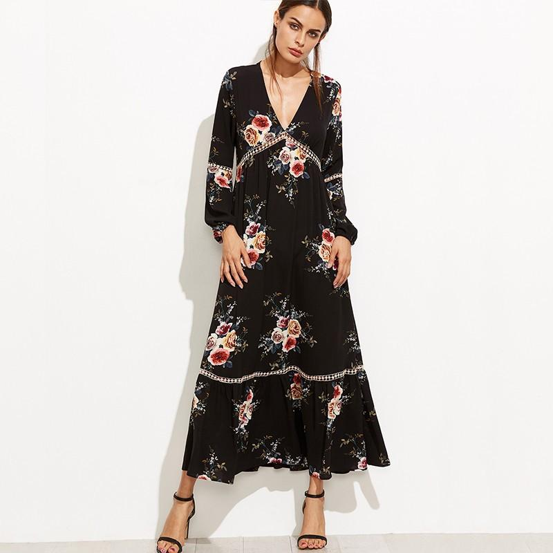 Bohemian Floral Printed Long Sleeve V-neck Long Maxi Dresses