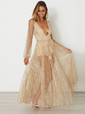 Sexy Gold Sequined Long Sleeves Maxi Dress