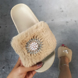 Plush Pearl Slippers-3color