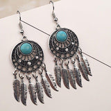 Vintage ethnic leaves fringed pine earrings dream catcher earrings