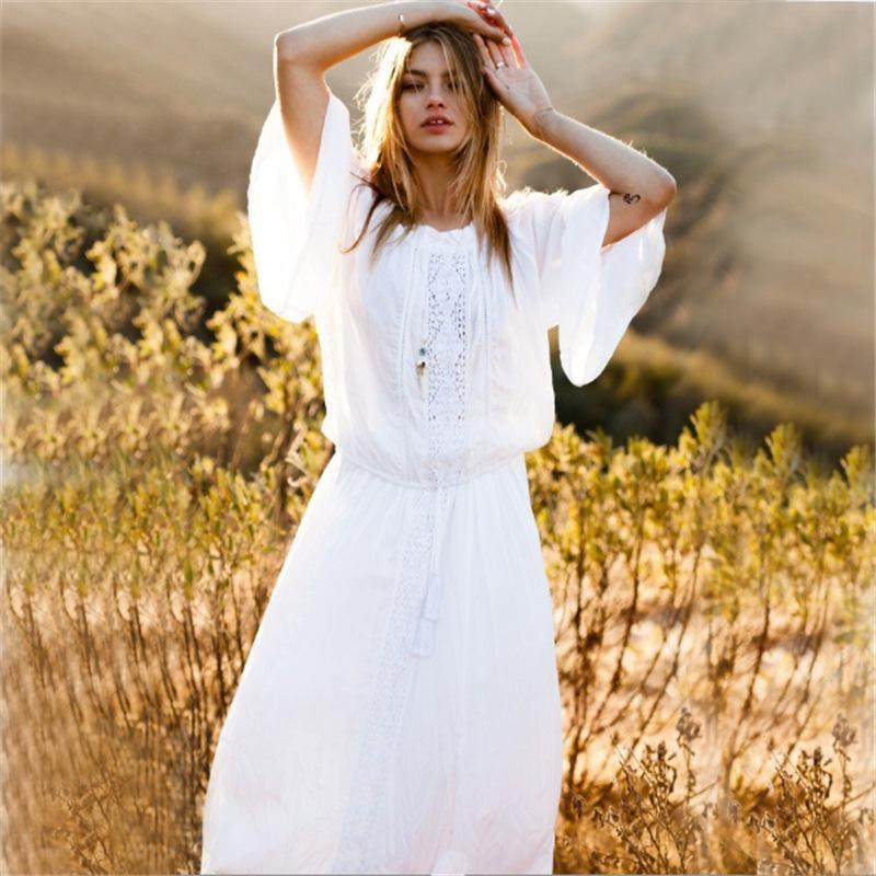 Hollow Long Sleeves V-neck White Maxi Dress