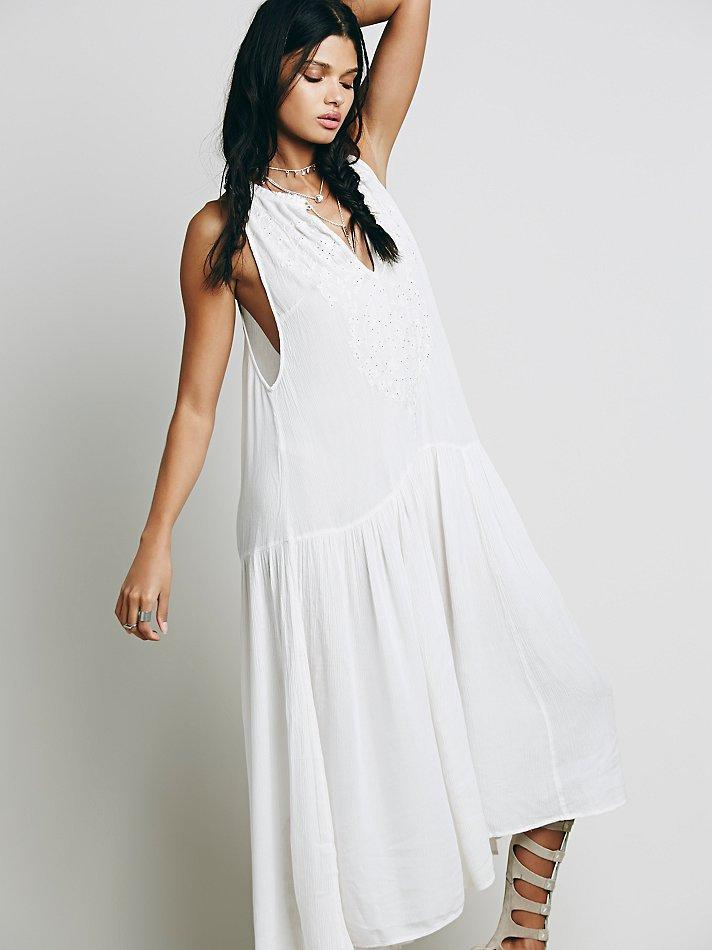 V Neck Back Hollow Out Flowing Beading Embroidery Dress