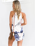Flowers Print Women Casual Beach Spaghetti Strap Sleeveless Dress