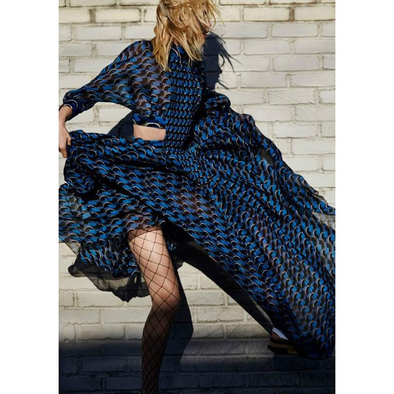 Sexy Long Sleeves Print Pleated Maxi Dress