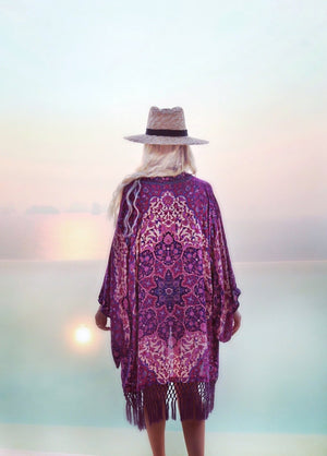 Purple Tassel Printed Beach Bikini Coverup Beach Cardigan Smock
