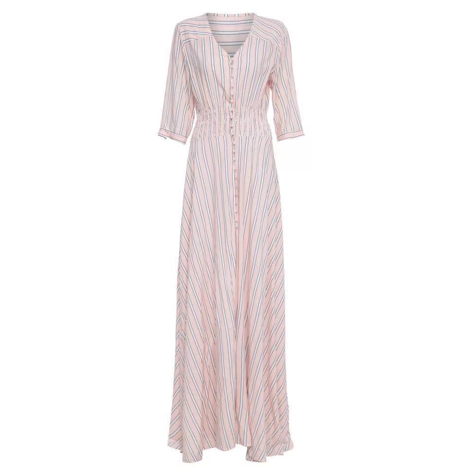 Vintage Bohemian Maxi striped loose dress