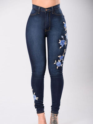 Plus Size Women Embroidery Floral High Waist Jeans Bottom
