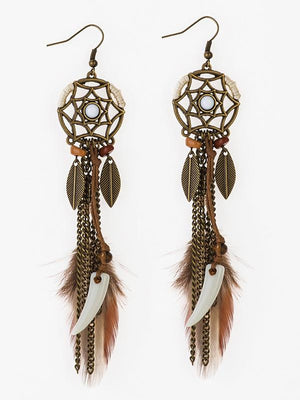 Boho Fashion Dream Catcher Long Feather Leaf Earrings
