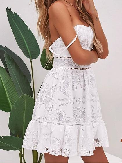 White Button Placket Front Open Back Chic Women Lace Cami Mini Dress