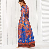Live- Sale Printed Dress Round Neck Long-Sleeved Boho Vintage Dress