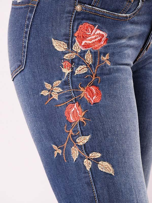 Embroidered Jeans Women High Waist Plus Size Bottom