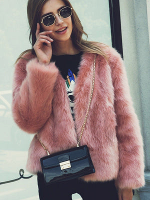 Fashion Pink Faux Fur Coats