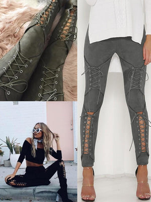 Sexy Lace-up Suede Trousers Pants