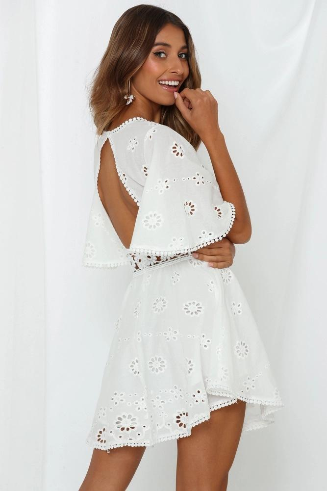 Cotton Cut-out Lace Mini Dress