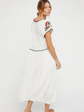 Emboridery Bandage Cover-Ups Long Maxi White Dress