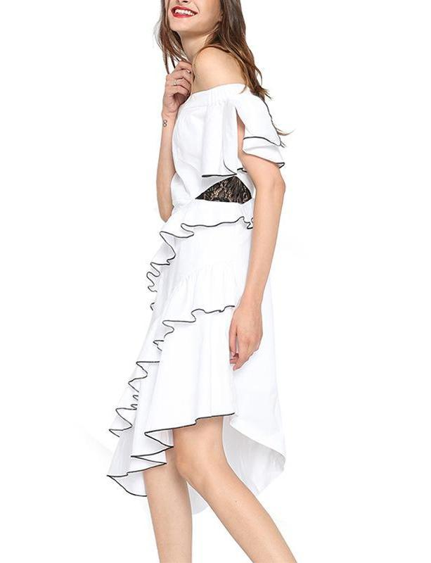 White Sexy Off Shoulder Cotton Mididress