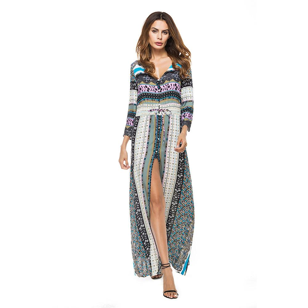 Boho Long Sleeve Stripe Autumn V-neck Vacation Dress