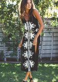 Bohemian holiday wind embroidered sling split black dress