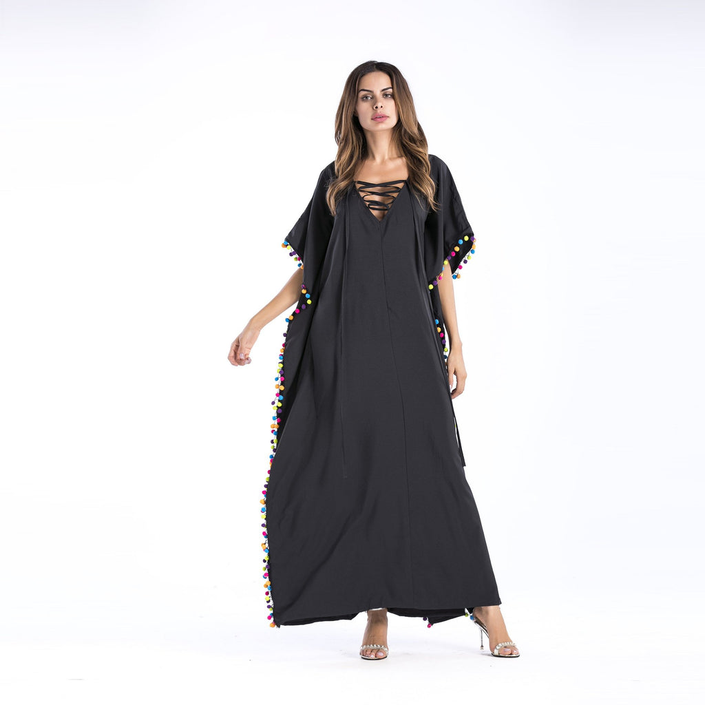 Fashion Clothing Women Tassel Solid Ankle-Length Split Maxi Dress