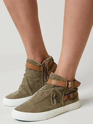 Plus Size Canvas Ankle Boots Flat Heel Buckle Booties