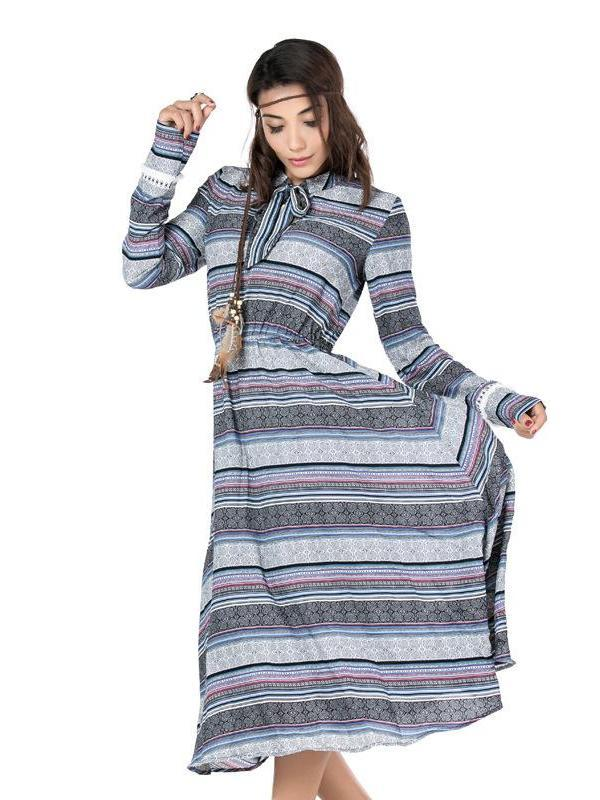 Boho Ethnic Long sleeve Stand collar Bow tie Maxidress