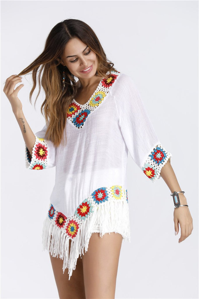 Bohemian Tassels Knitted Cotton Long Shirt Top