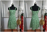 Green vintage slim slit dress