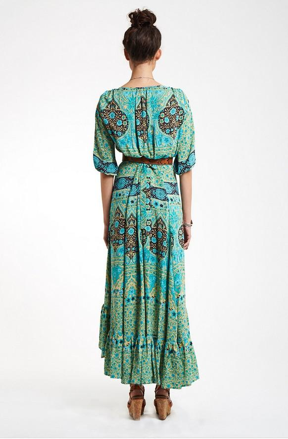 Beach Sleeve Print Cardigan Long Boho Maxi Dress