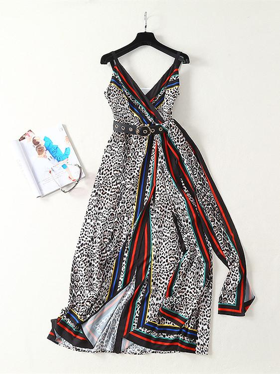 Striped Print Stitching Leopard Sling Maxi Dress