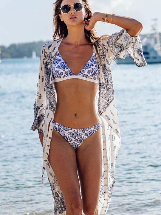 Blue and white porcelain fashion printing split swimwear bikini