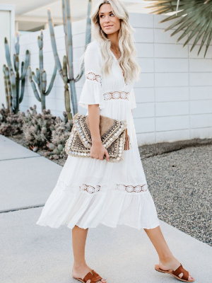 Flare SleeveV Neck White Ruffle Midi Dresses