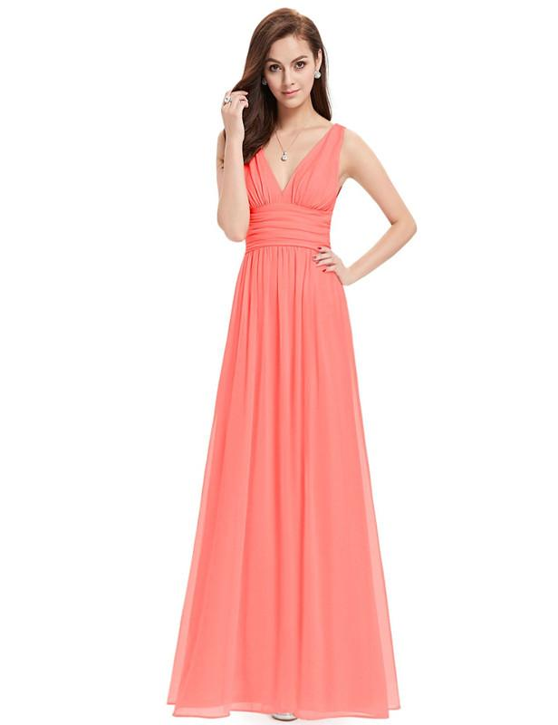 Women Long Elegant Sweep Rushed Double V-neck Evening Dress