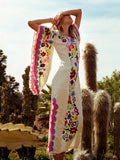 Pink white Fairy Sleeves Embroidered Maxi Dress