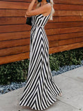 Sleeveless V Neck Striped Maxi Dresses