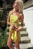 Sexy Yellow Irregular Bow Tie Beach Skirt Dress