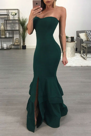 Green Tube Top Fish Tail Skirt Dress