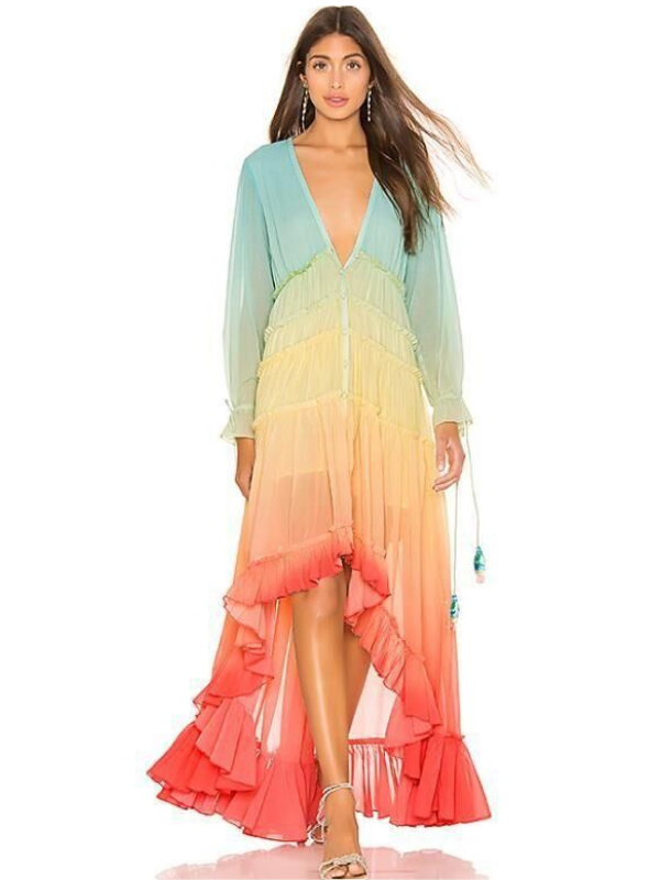 Printed Color Matching  Bohemian Long Maxi Dress