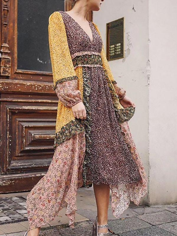 Holiday storm point floral retro waist irregular long dress