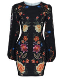 Cutout Back Bishop Sleeve Floral Bodycon Dress - Black