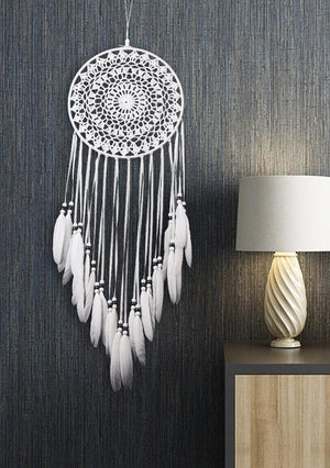 Indian  White Dream Catcher Bohemian  Feathers Wall Hanging Home Decoration