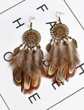 Vintage Bronze Round Drop Dangle Earrings Bohemia