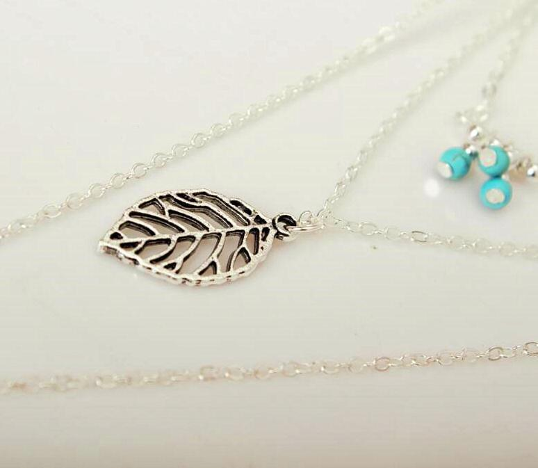 Bohemian vintage ethnic leaf feather tri-layered tassel necklace