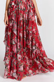 Roses Ruffles Lace-up Maxi Dress