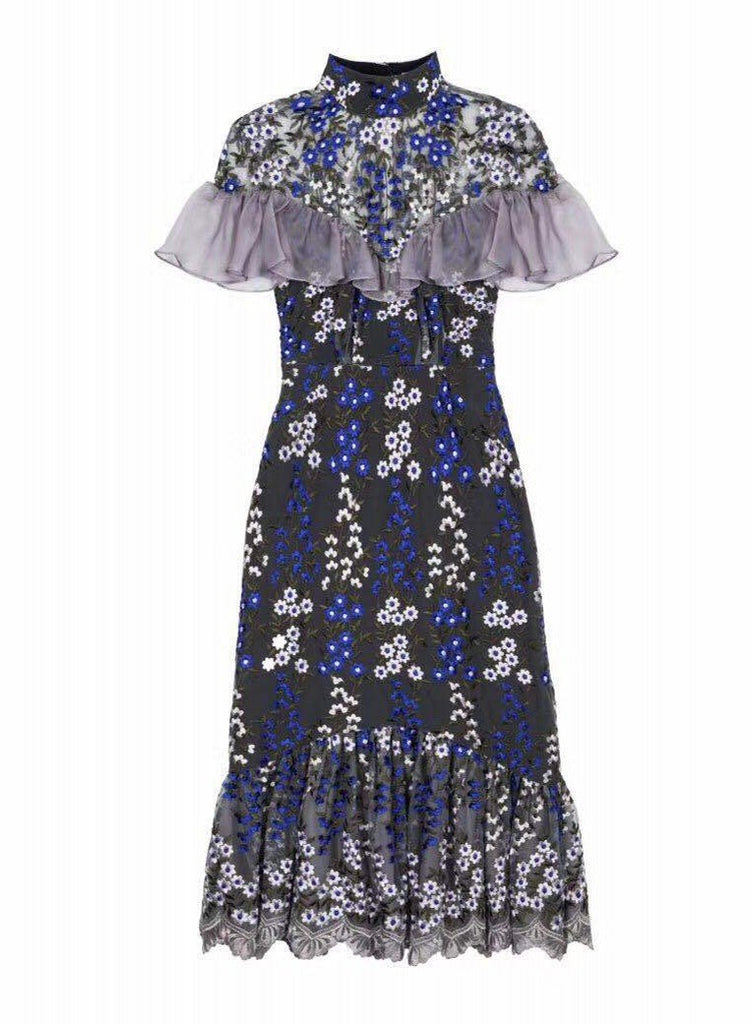 Bohemian Mesh Embroidered Mid-Length Ruffled Stitching Dress