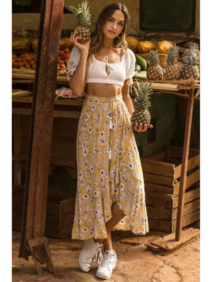 Floral Yellow Tassel Irregular Boho Skirt